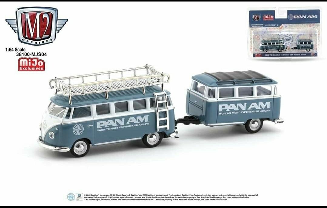 "M2 Machines Mijo Exclusive 1:64 Volkswagen VW Bus Combi with custom trailer ""Pam Am"" livery"