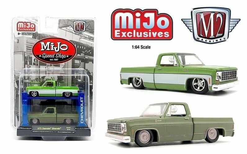 M2 Machines 1:64 Auto Lift Mijo Exclusive 1975 Chevrolet Silverado SQUAREBODY Mijo Speed Shop Limited Edition 2 Truck Set