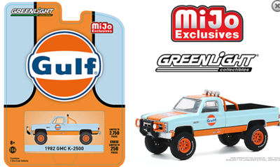 Greenlight 1:64 Mijo Exclusive 1982 GMC K-2500 Gulf Custom 4x4