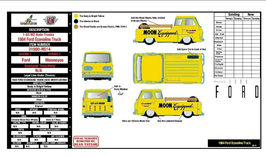 """Auto-Trucks 1:64 scale - Release 31500-HS14 - HOBBY EXCLUSIVE - """"MOONEYES"""" -  1964 Ford Econoline Truck"""