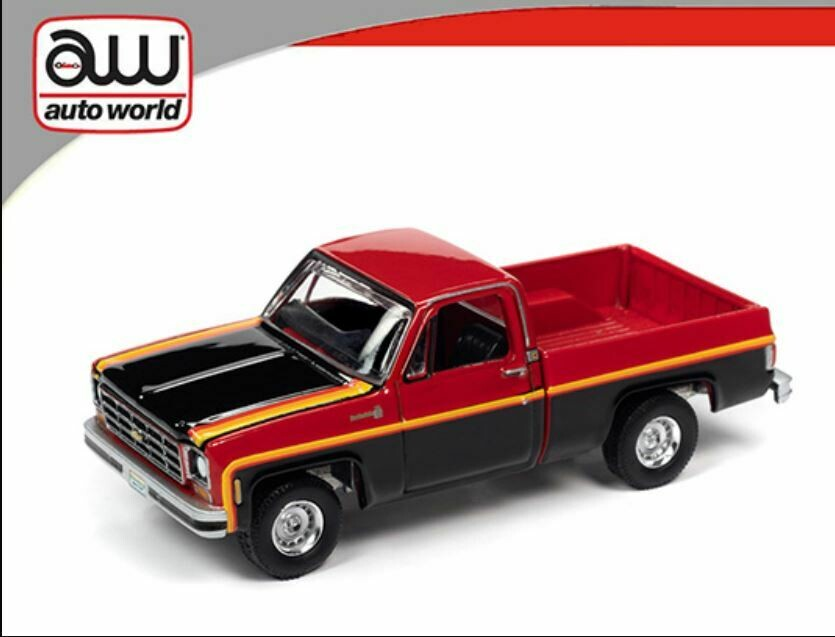 Auto World 1:64 Hemmings Motor News - 1979 Chevrolet Scottsdale - Two-Tone Red and Black with Yellow Pinstripes