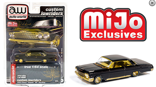 Auto World 1:64 MiJo Exclusives - Custom Lowriders - 1962 Chevrolet Impala SS Hard Top - Black with gold trim