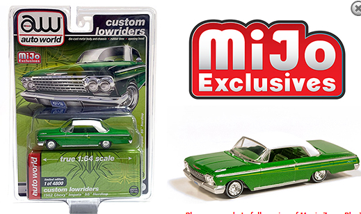 Auto World 1:64 MiJo Exclusives - Custom Lowriders - 1962 Chevrolet Imapala SS Hardtop - Green with white top