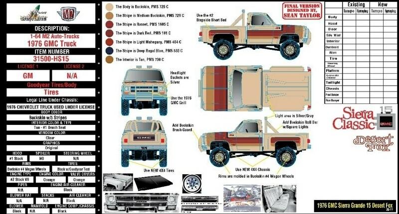 Auto-Trucks 1:64 scale - Release 31500- HS15 - HOBBY EXCLUSIVE -  1976 GMC Sierra Classic 15 - Desert Fox -