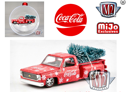 M2 Machines 1:64 Coca Cola Ornament 1973 Chevy Stepside Truck Limited Edition