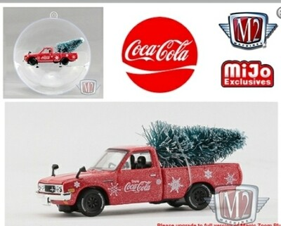 M2 Machines 1:64 Mijo Exclusive Coca Cola Ornament 1976 Datsun 620 Pick Up Truck JDM Advan Yokohama Tires Limited Edition