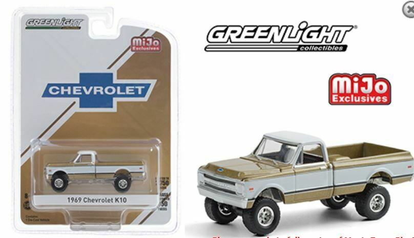 Greenlight 1:64 MiJo Exclusives - 1969 Chevrolet K10 Pickup Truck 4x4 - Gold & White - Limited to 2,750 pieces