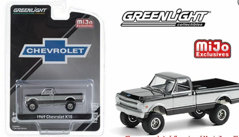 Greenlight 1:64 MiJo Exclusives - 1969 Chevrolet K10 Pickup Truck 4x4 - Black & Silver - Limited to 2,750 pieces