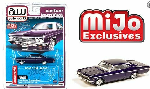 Auto World 1:64 Mijo Exclusive Custom Lowriders 1966 Chevy Impala SS Metallic Purple Limited Edition