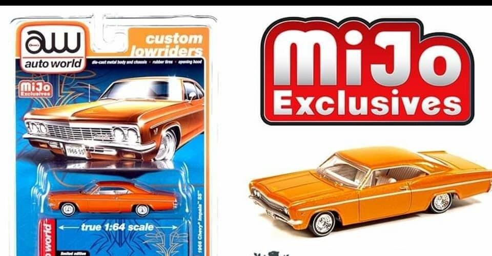 Auto World 1:64 Mijo Exclusive Custom Lowriders 1966 Chevy Impala SS Metallic Orange