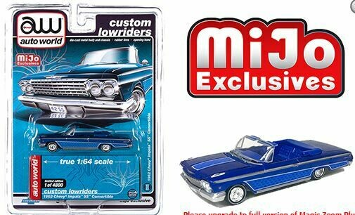 Auto World 1:64 Mijo Exclusive Custom Lowriders 1962 Chevy Impala SS Convertible Plum Limited Edition