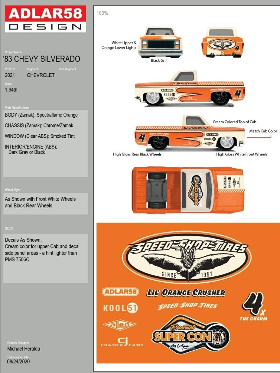 Michael Heralda 83 Silverado Diecast Super Convention
