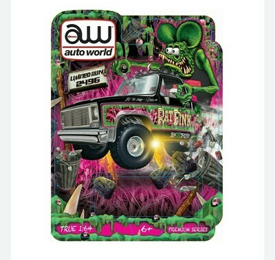 Las Vegas Autoworld Chevy Cheyenne Rat Fink 2.0 4x4 Secret Release 2 car set includes Ultra Red