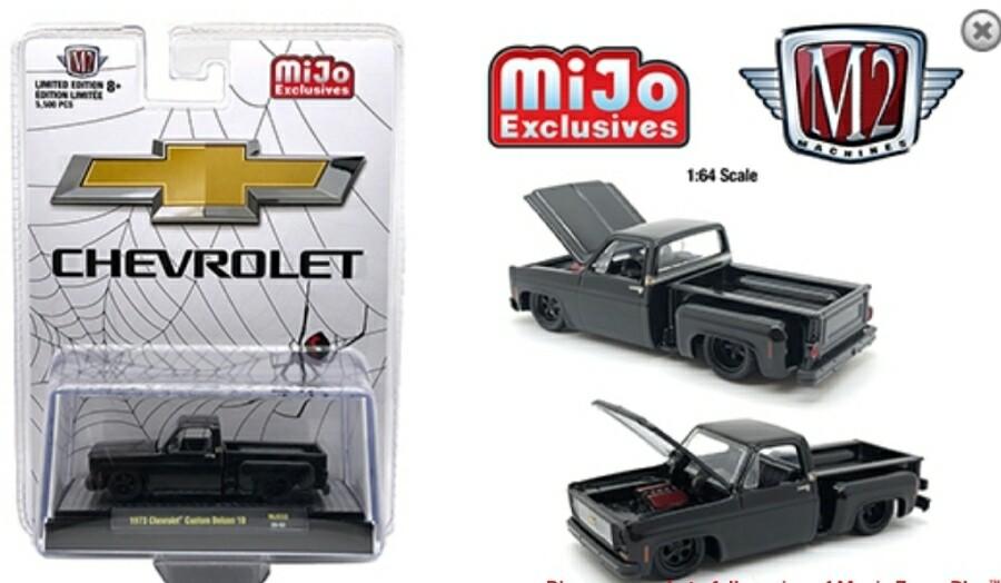 "M2 Machines 1:64 Mijo Exclusive Auto Trucks 1973 Chevrolet Custom Deluxe 10 "" Black Widow "" Limited 6,000 Pcs"
