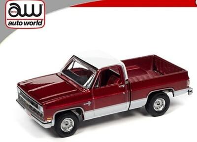 Auto World 1:64 Chevy Silverado 10 1981 RED w/ White Top