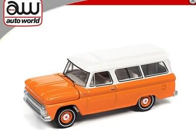 Auto World 1:64 1965 Chevrolet Suburban Orange/White