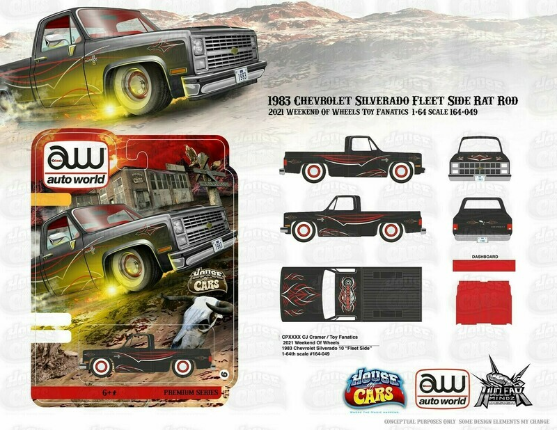 Autoworld Anniversary Commemorative Vegas Edition 83 Silverado Rat Rod Set with Ultra Red