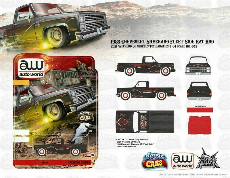 Autoworld Anniversary Commemorative Vegas Edition 83 Silverado Rat Rod Set with Ultra Red