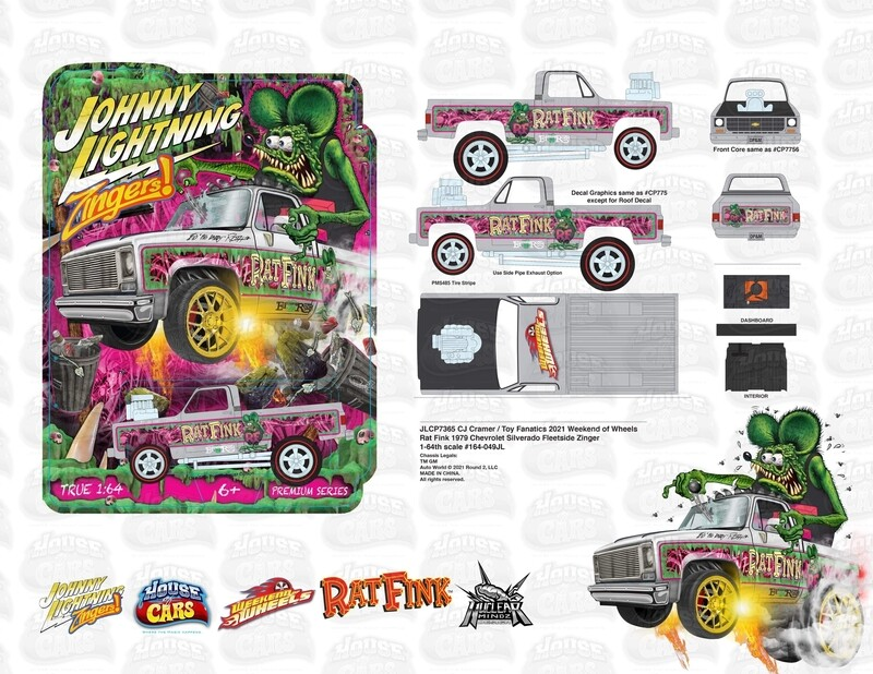 Weekend of Wheels Johnny Lightning Zinger 79 Chevy Silverado Rat Fink Convention Exclusive Set includes White Lightning