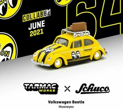 Schuco 1:64 Tarmac Exclusive Volkswagen Beetle With Roof Rack and Luggage Mooneye's Limited Edition