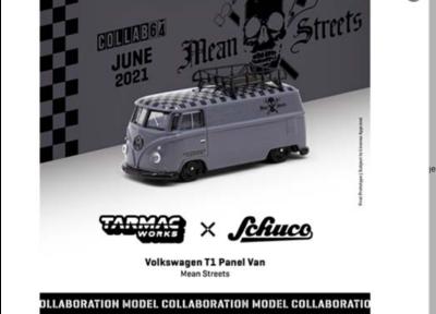 Schuco 1:64 Tarmac Works Exclusive Volkswagen T1 Panel Van Mean Street With Tin Can