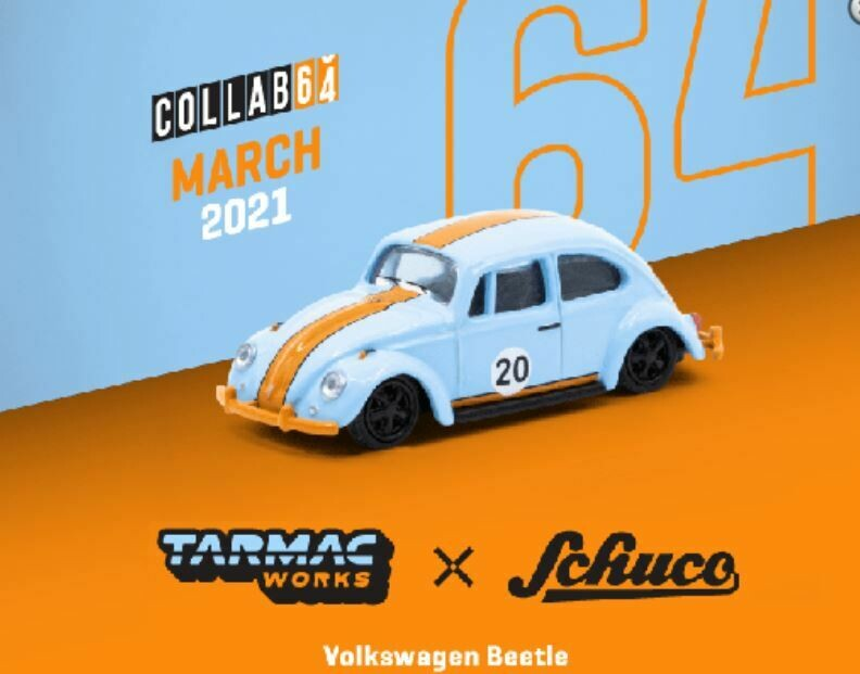 Schuco 1:64 Tarmac Exclusive Volkswagen Beetle Blue Orange