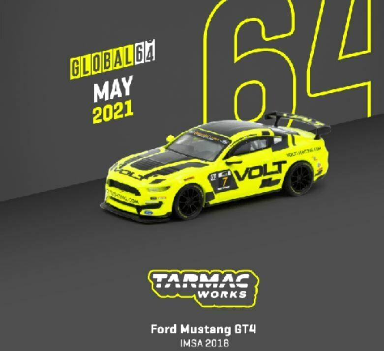 Tarmac Works Global 1:64 2018 Ford Mustang GT4 #7 Volt IMSA