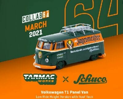 Schuco 1:64 Tarmac Exclusive Volkswagen T1 Panel Low Ride Height Jagermeister