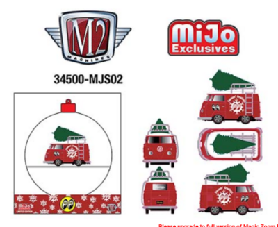 M2 Machines 1:64 MiJo Exclusives - 2021 Mooneyes Ornament - 1960 Volkswagen Delivery Short Bus Satin Red Limited Edition