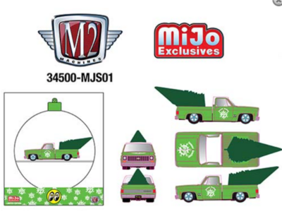 M2 Machines 1:64 MiJo Exclusives - Mooneyes Ornament - 1973 Chevrolet Cheyenne 10 Satin Green Limited Edition