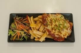Air fried Chicken parmigiana,  options of sides