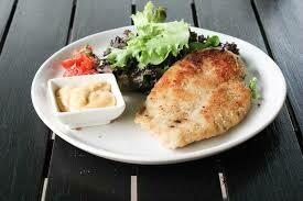 Air fried Chicken schnitzel , with vegetables