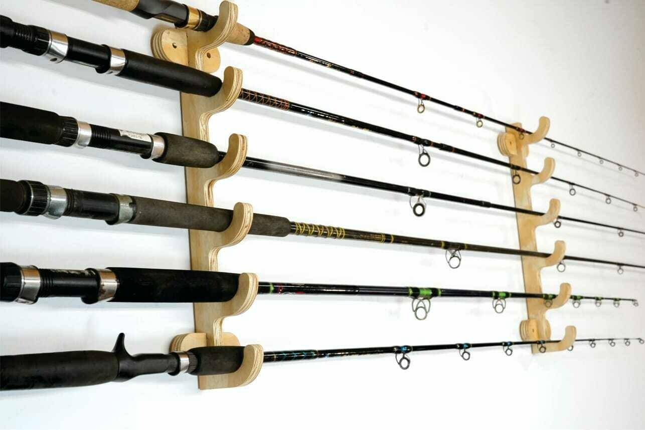 Fishing rod holders wood