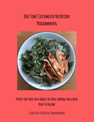 One Time Customized Nutrition Programming