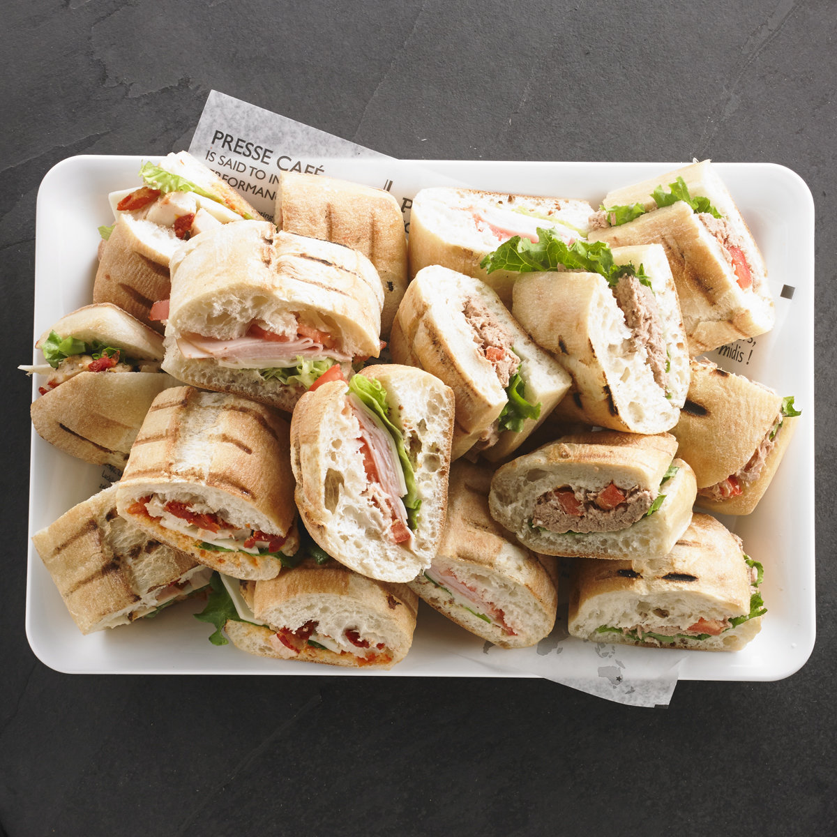 An assortment of Presswiches for 8 people / Price per person 6,95$
