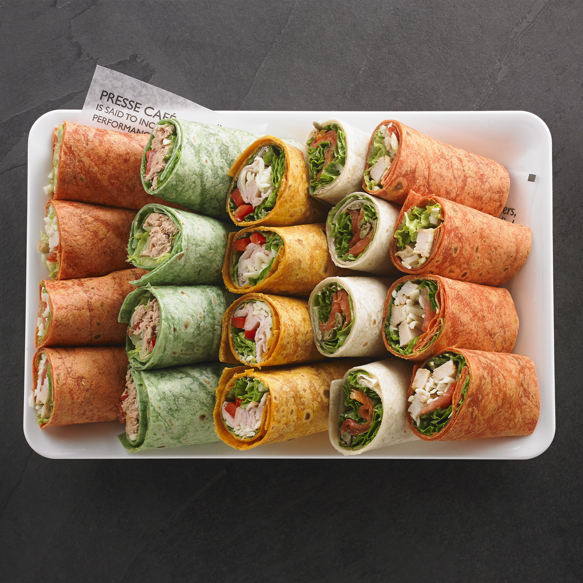 An assortment of wraps for 8 people / Price per person 6.95$