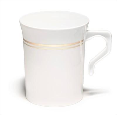 8 oz Coffee Mug White & Gold line
