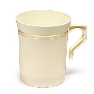 8 oz Coffee Mug Ivory & Gold Line