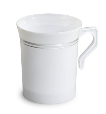 8 oz Coffee Mug White & Silver Line