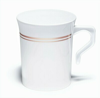 8 oz Coffee Mug White & Rose Gold line