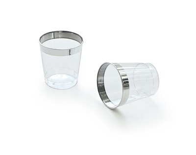 1 oz  Plastic Mini Shot / Kidush Cup, Clear Silver Rim