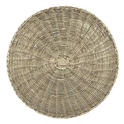 Bali Design- Grey - Round Handcrafted Woven Polyester Placemat