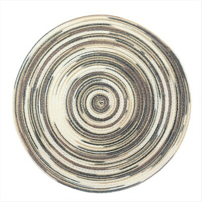 TWIST Design - Brown / Beige / Blue - Round Handcrafted Woven Polyester Placemat