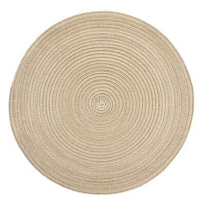 Monaco Design - Beige - Round Handcrafted Woven Polyester Placemat