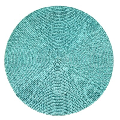 Tuscany Design - Tiffany Blue - Round Handcrafted Woven Polyester Placemat
