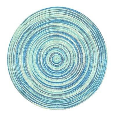 TWIST Design - Light Dark Blue - Round Handcrafted Woven Polyester Placemat