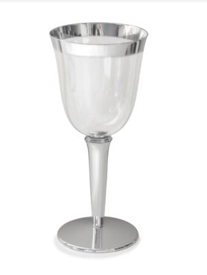 7.5 oz Clear Plastic Wine Cup,  Silver Rim  -1 PIECE SAMPLE -