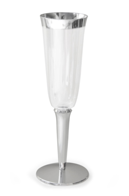 6 oz Clear Plastic Champagne Cup, Silver Rim  -1 PIECE SAMPLE -