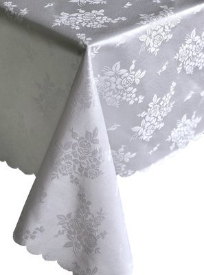 Jacquard Vintage Style White Floral Tablecloth