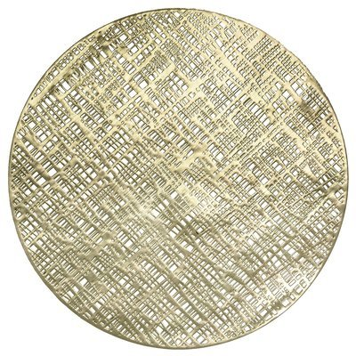 Round Linen in Gold Pressed Vinyl Placemat -1 PIECES SAMPLE -